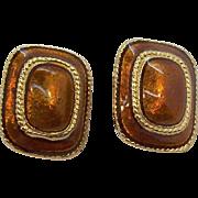 Rectangular Shaped Orange Coppertone Enameled Goldtone Metal Clip on Earrings