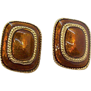 Rectangular Shaped Orange Coppertone Enameled Goldtone Metal Clip on Earrings