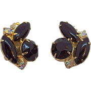 Black & Clear Aurora Rhinestones Goldtone Metal Clip on Earrings