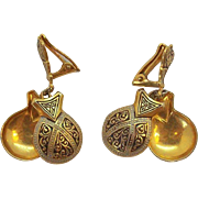 Dangle Castanets Damascene Goldtone Metal Enameled Clip on Earrings