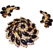 Glamorous  3-D Domed Brooch & Earring Set Black Cabs &  Aurora Borealis Rhinestones