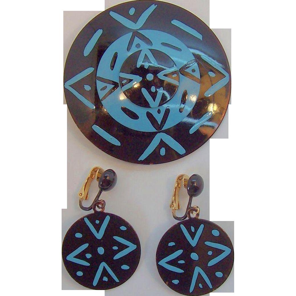 Bergere Geometric Design Black & Blue Enameled Metal Brooch & Earring Set