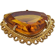 Sphinx England  Honey Colored  Unfoiled Faceted Stone Brooch circa 1960s