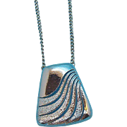 Retro Geometric Shaped Silvertone Metal Pendant Necklace