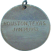 Houston Texas 1952 Round Sterling Silver Charm