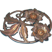 Oval Shaped 3-D Flowers & Leaves Silvertone Metal Brooch