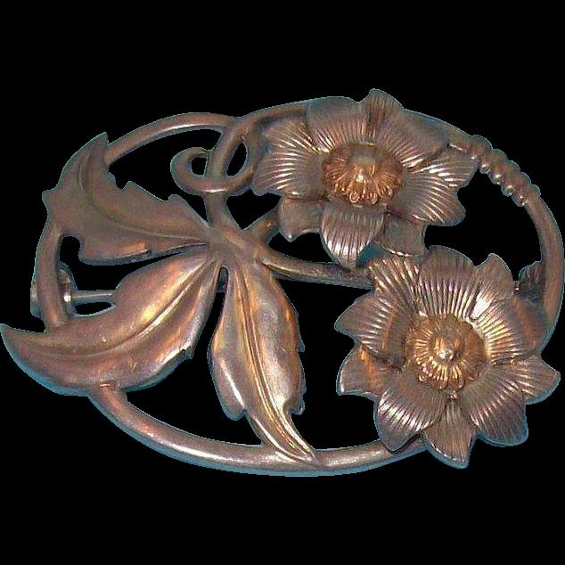 Oval Shaped 3-D Flowers & Leaves Silvertone Metal Brooch