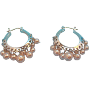 Carolee Pastel Pink Imitation Pearls Dangle Hoop Pierced Earrings