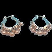 Carolee Pastel Pink Imitation Pearls Dangle Hoop Pierced Earrings