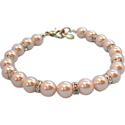 Carolee Light Pastel Pink Imitation Pearls & Rhinestone Bracelet