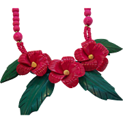 Huge 3-D Deeply Carved Wooden Pink & Red Floral Necklace Philippines 1980's