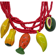 Huge 3-Dimensional Wooden Dangle Fruit Necklace & Pierced Earring Set 1980's Phillipines
