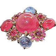 Reinad Pin & Blue Poured Glass Cabs & Rhinestones Flower Brooch