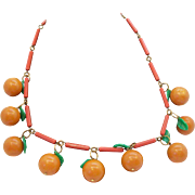 Fun Dangle Plastic Fruit Oranges & Leaves Necklaces on Plastic Chain