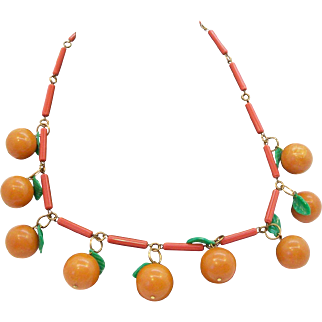 Fun Dangle Plastic Fruit Oranges & Leaves Necklaces on Plastic Chain