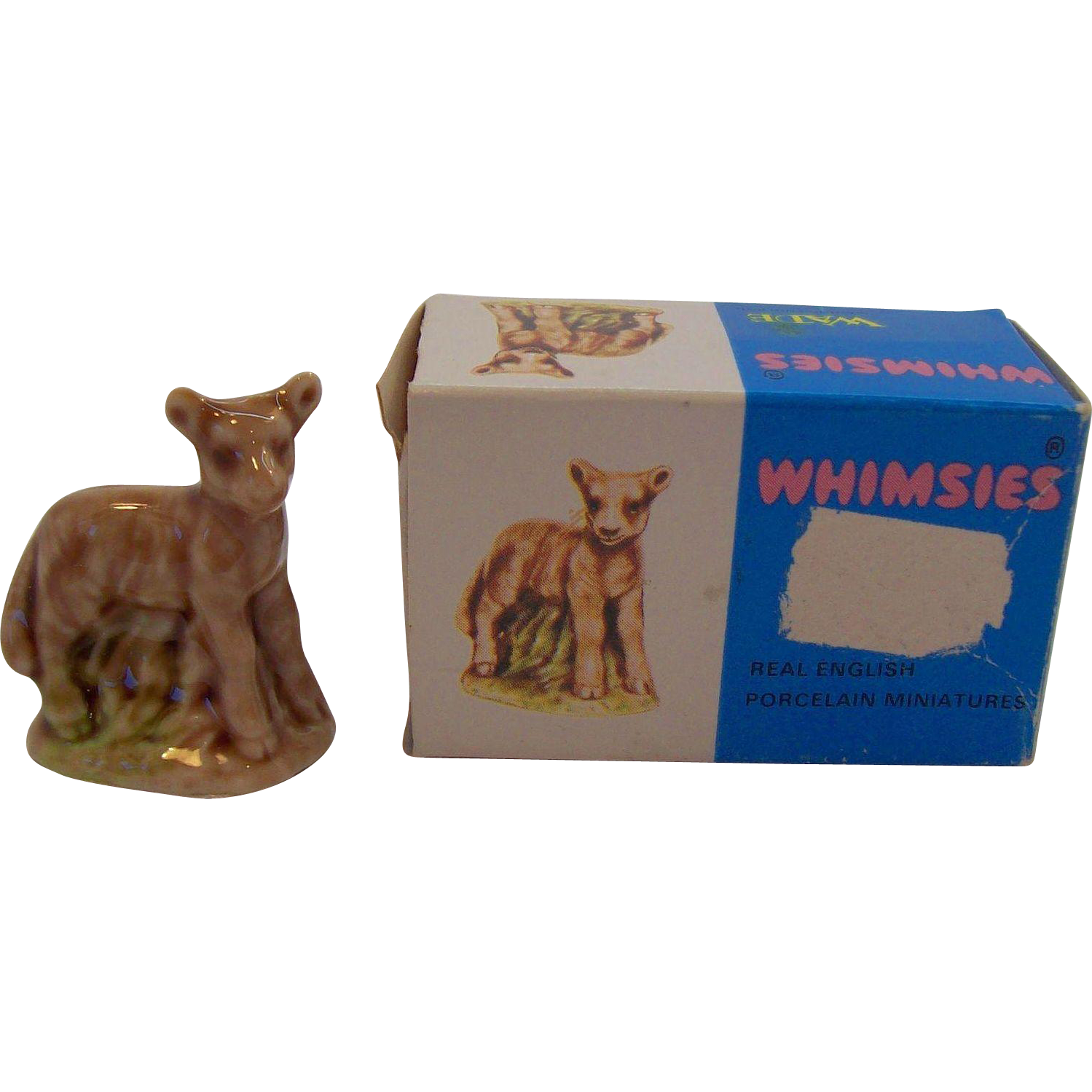 Wade Whimsies Lamb Porcelain Miniature MIB Circa 1970's Box in Good Condition