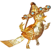 Unusual Whimsical 14K Gold 3-D Bird Wearing a Sombrero  Brooch Genuine Diamonds
