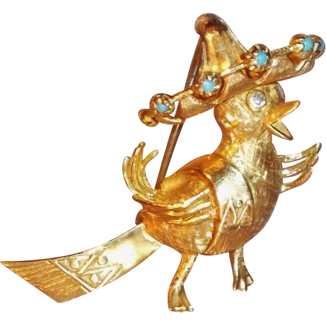 Vintage Whimsical 14K Gold Bird Brooch Genuine Diamonds