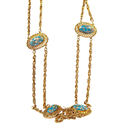Retro Goldtone Metal  Blue Confetti Thermoset Plastic Cabochons Belt