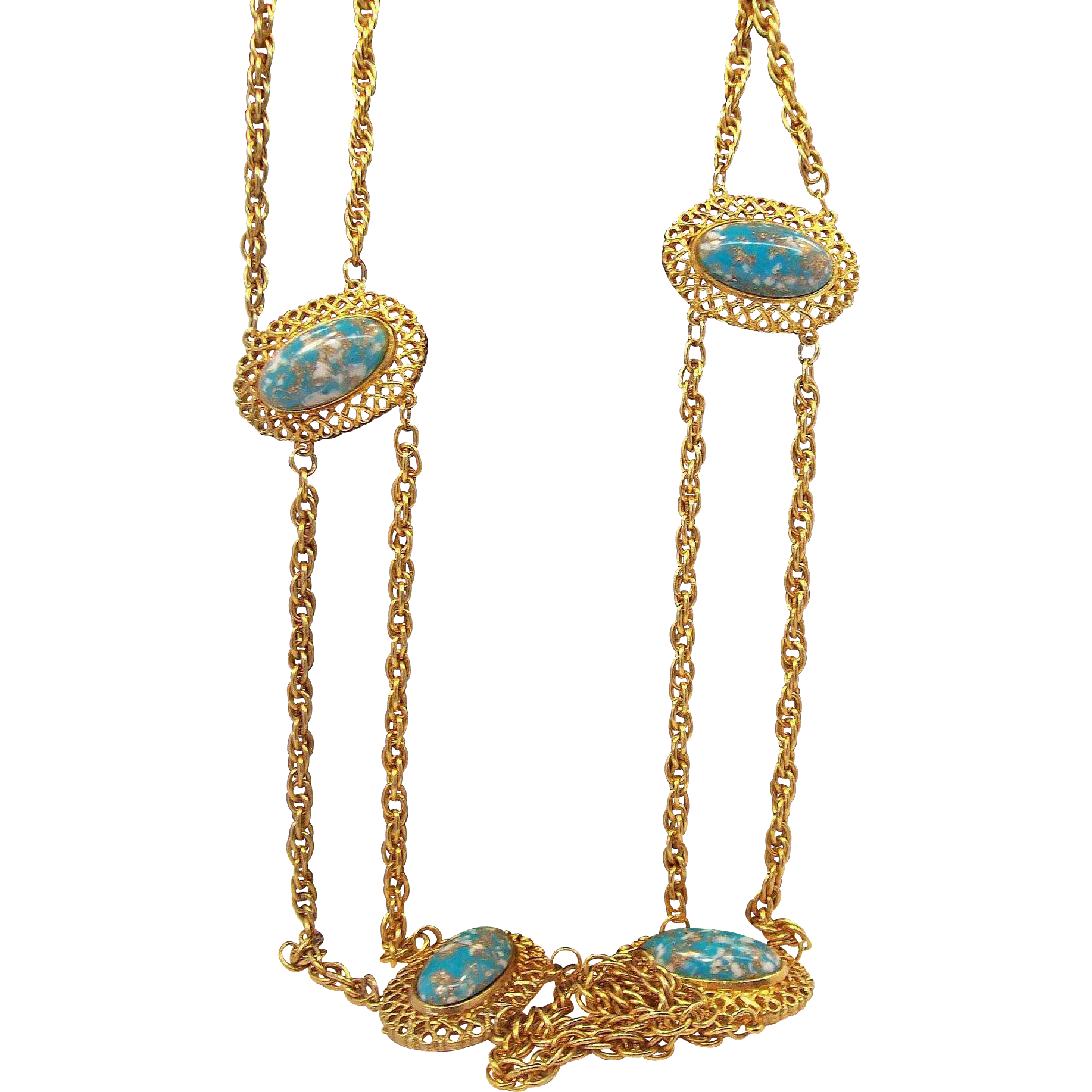 Huge Chunky Retro Goldtone Metal Belt  Blue Confetti Thermoset Plastic Cabochons