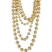 Vintage Elegant Shiny Goldtone Metal Beaded, Layered  Multi Strand Necklace