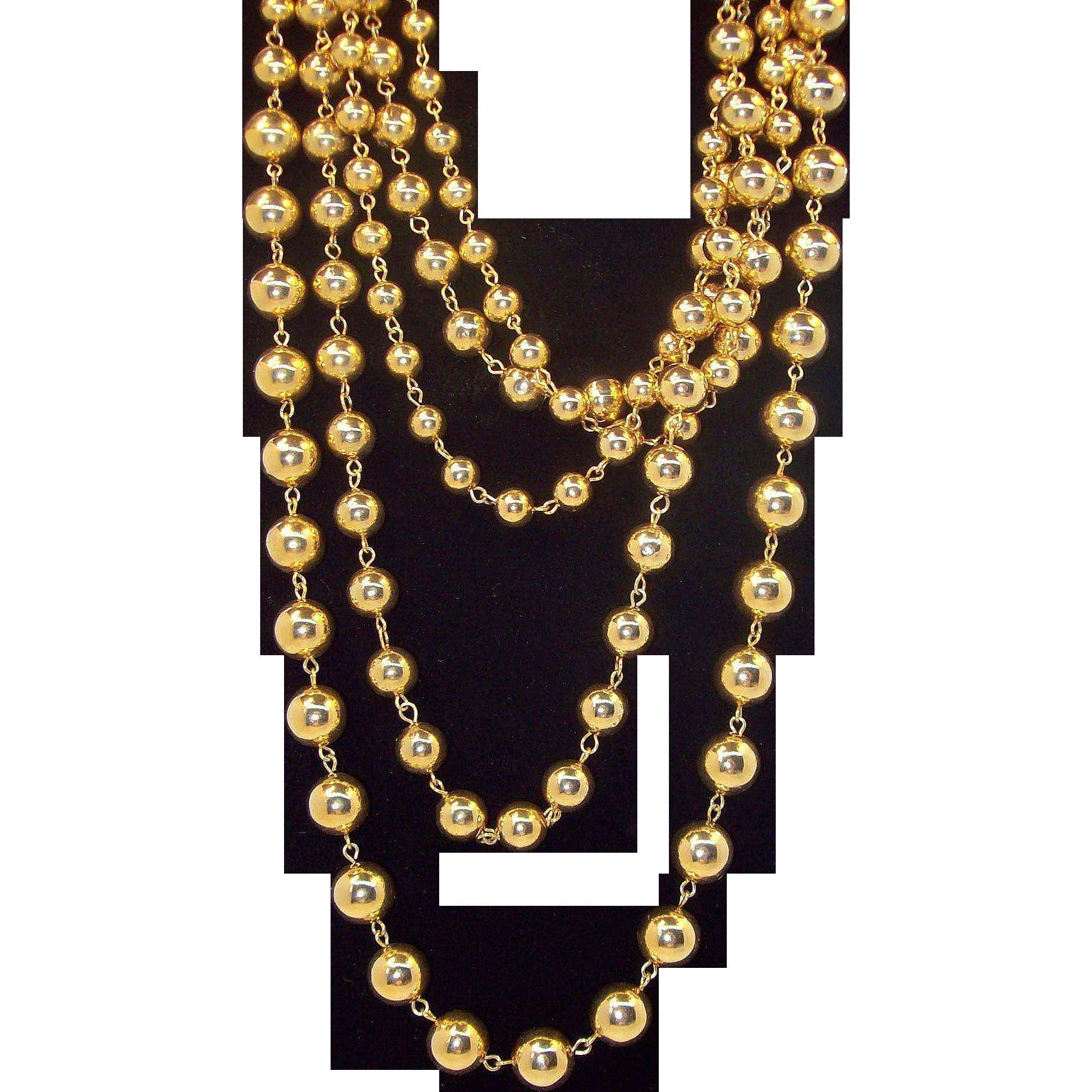 Elegant Shiny Goldtone Metal Beaded, Layered,  Multi- Strand Necklace