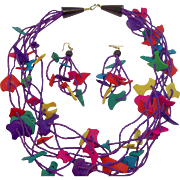 Fun & Funky Colorful Tropical Wooden Necklace & Dangle Pierced Earrings