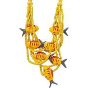 Bold Bright Yellow & Orange Tropical Fish Wooden Beaded Necklace
