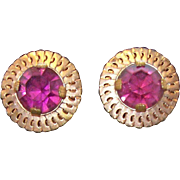 Elegant Round Goldtone Metal Purple Rhinestone Clip on Earrings