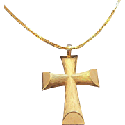 Avon Textured Goldtone Metal Cross Pendant Necklace