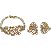 Elegant Kramer Citrine Colored Rhinestone Bracelet & Earring Set