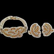 Elegant Kramer Citrine Colored Rhinestone Bracelet & Earring Set