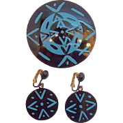 Bergere Geometric Design Black & Blue Enameled Metal Brooch & Earring Set  Circa 1950's