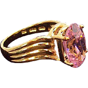 Vintage Brilliant Faceted Oval Shaped Pink Ice CZ Vermeil Ring  Size 9