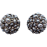 Huge Domed 3-D Black Imitation Pearls & Rhinestone Clip on Earrings