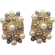 Sparkling Large 3-D Champagne, Black & Creme Imitation Pearls Clear Rhinestone Clip on Earrings