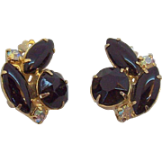 Vintage Black  Clear Aurora Rhinestones Goldtone Metal Clip on Earrings