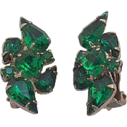 Vintage Emerald Green Pear Shaped  Round Rhinestones Clip on Earrings