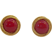 Vintage Napier Cherry Red Textured Goldtone Metal Adjustable Clip on Earrings