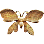 Capri Butterfly Brooch  Brushed Goldtone Metal with Genuine Pearls
