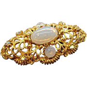 Ornate Goldtone Metal Brooch Opalescent Glass Stones & Aurora Rhinestones