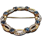 Mazer Rich & Elegant Circle Brooch  Sapphire Blue & Clear Rhinestones