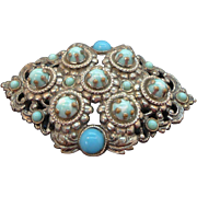 Ornate Textured Silvertone Metal Brooch 3-Dimensional Blue Cabochon Stones