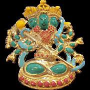 Vintage  Whimsical Hindu Figural Enameled Goldtone Metal Brooch Circa 1960's
