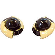 Monet Large & 3-Dimensional Creme & Black Clip on Earrings