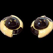 Monet Large & 3-Dimensional Creme & Black Clip on Earrings