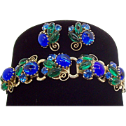 Vintage Sapphire Blue Green Glass Cabs & Rhinestones Bracelet  Earring Set