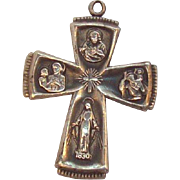 Sterling Silver Catholic Four Way Medal Double Sided Cross Pendant