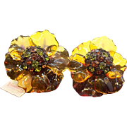 Vendome 3-D Cellulose Acetate Rhinestone Flower Earrings  Mint with Original Hang Tag