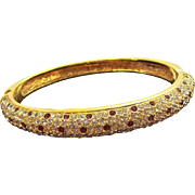 Sparkling Hinged Bangle Bracelet Goldtone Metal with Clear & Deep Amethyst Colored Rhinestones